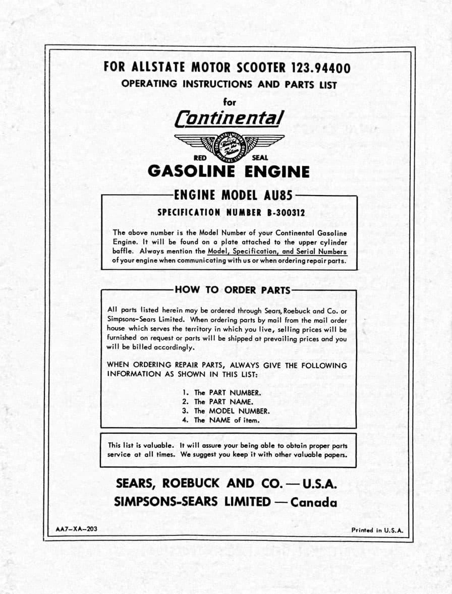 Continental Gasoline Engine Operating Instructions and Parts List