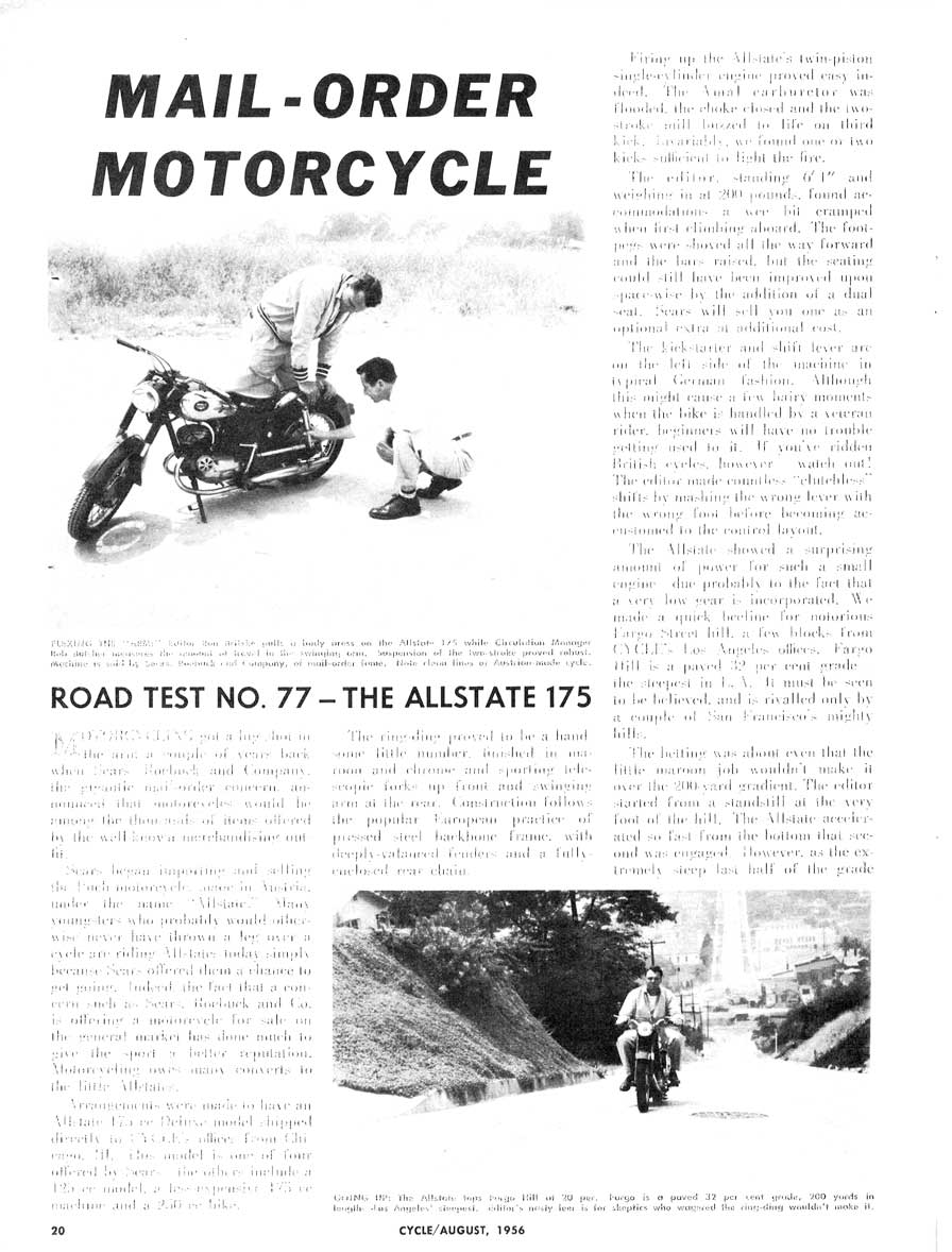 Allstate 175 Road Test No. 77 Article