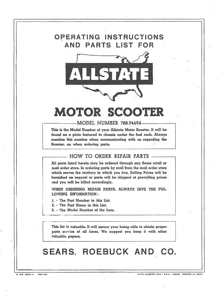 Allstate Cruisaire Operating Instructions and Parts List Manual