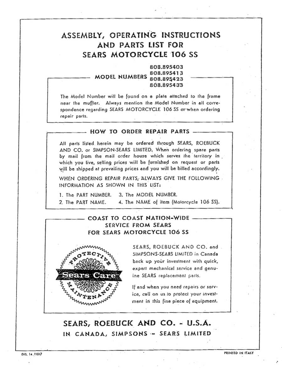 Sears 106SS Assembly, Operating Instructions and Parts List Manual