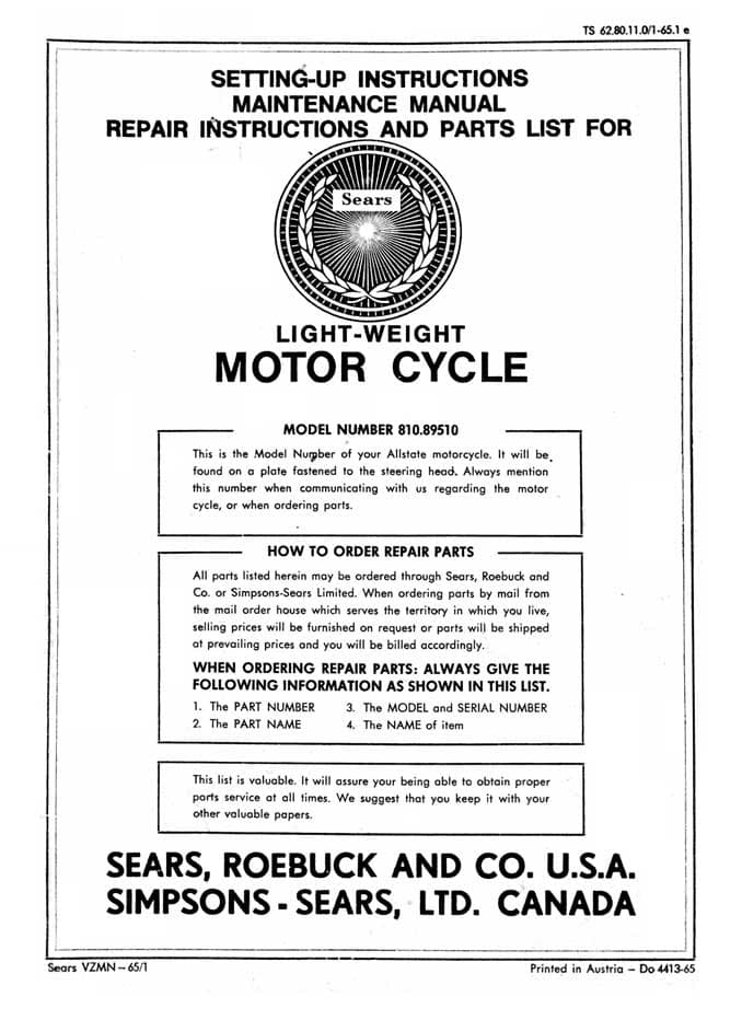 Sears Sabre Setting-Up, Maintenance, Repair and Parts List Manual