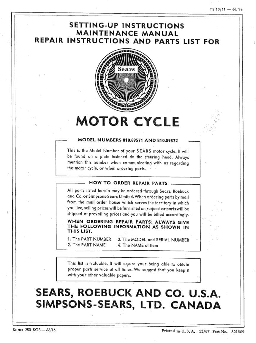 Sears SR250 Setting-Up, Maintenance, Repair and Parts List Manual