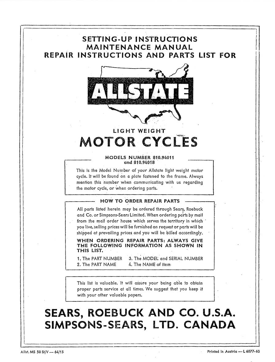 Allstate Mo-Ped Setting-Up, Maintenance, Repair and Parts List Manual