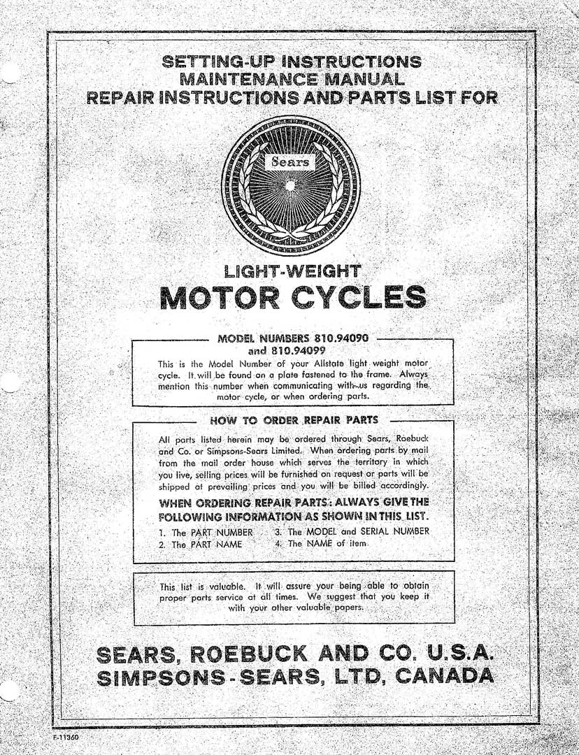 Sears Campus Mo-Ped Setting-Up, Maintenance, Repair and Parts List Manual