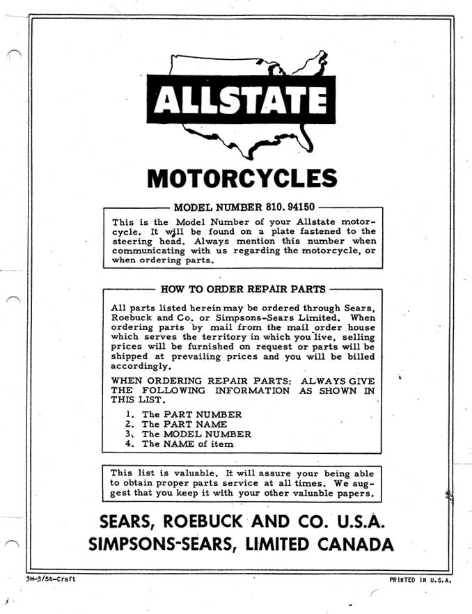 Allstate 125 Parts List Manual