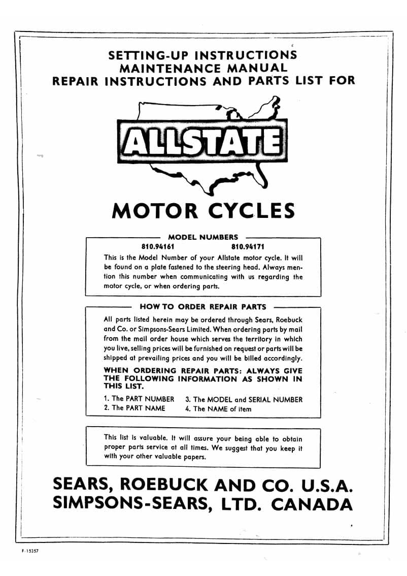 Allstate 175 Setting-Up, Maintenance, Repair and Parts List Manual
