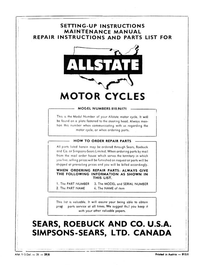 Allstate De Luxe Setting-Up, Maintenance, Repair and Parts List Manual