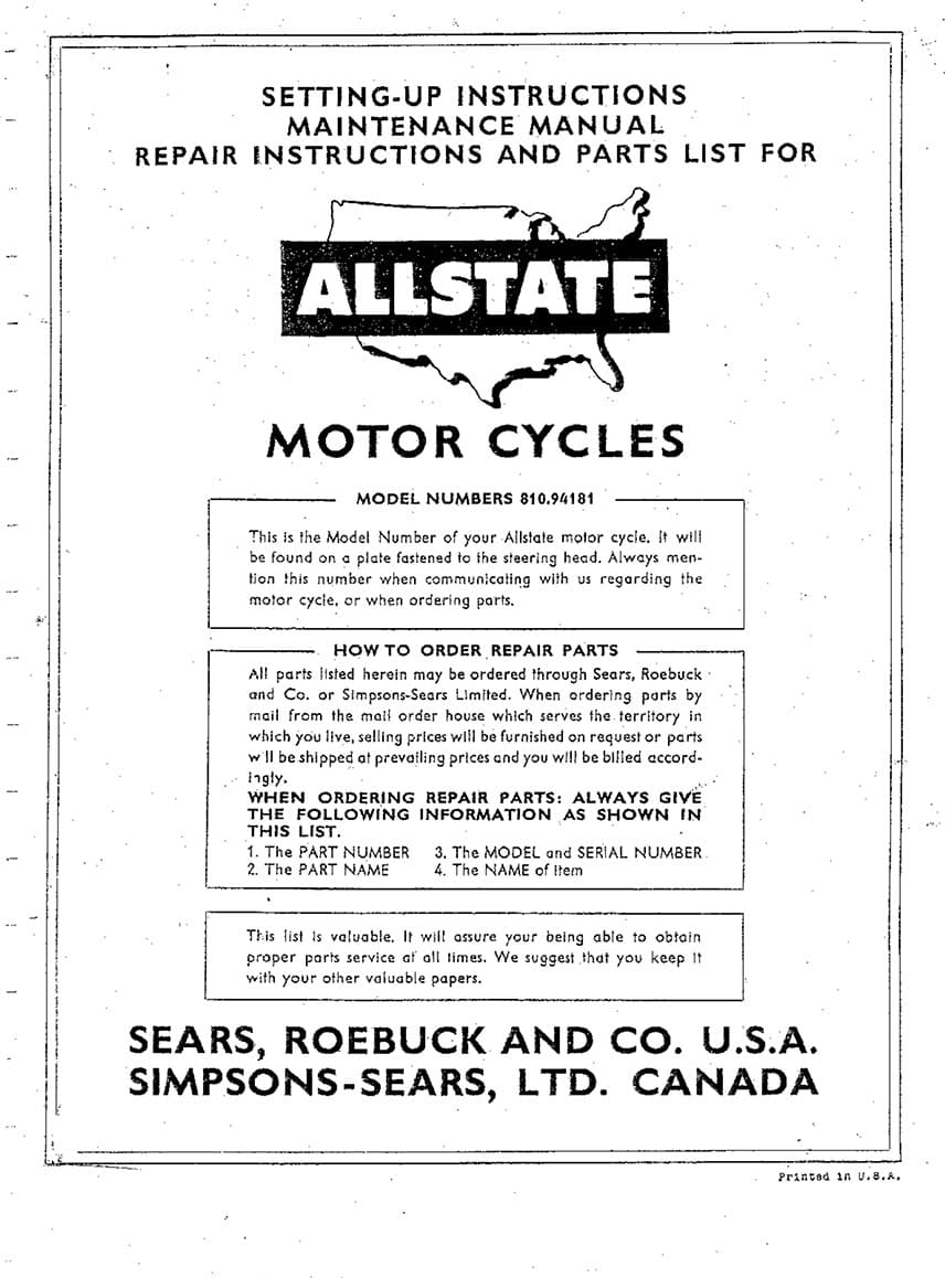 Allstate 250 Setting-Up, Maintenance, Repair and Parts List Manual