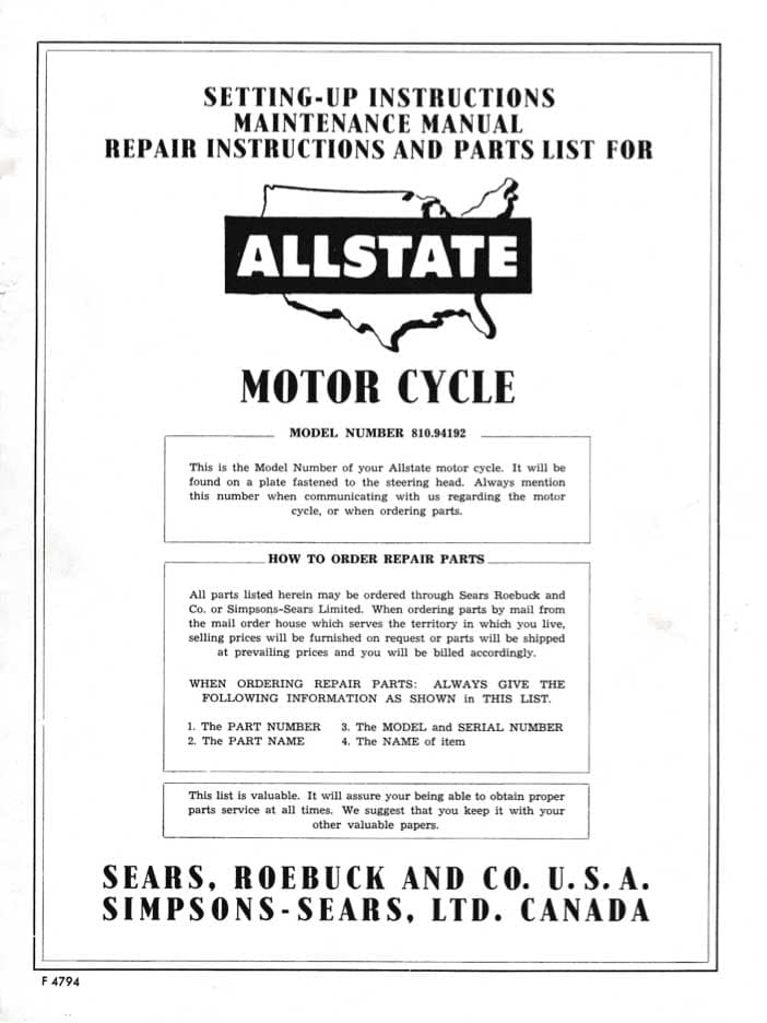 Allstate 150 Setting-Up, Maintenance, Repair and Parts List Manual
