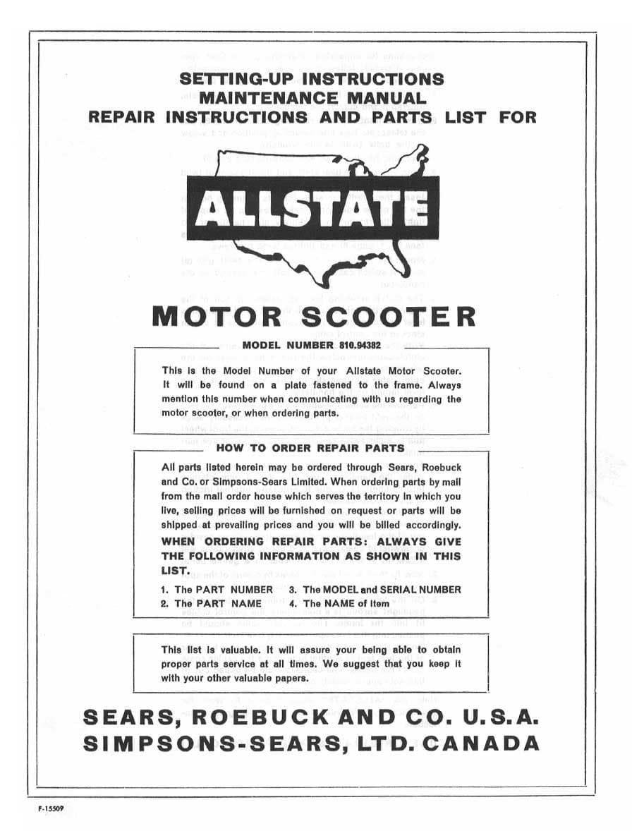 Allstate Compact Setting-Up, Maintenance, Repair and Parts List Manual