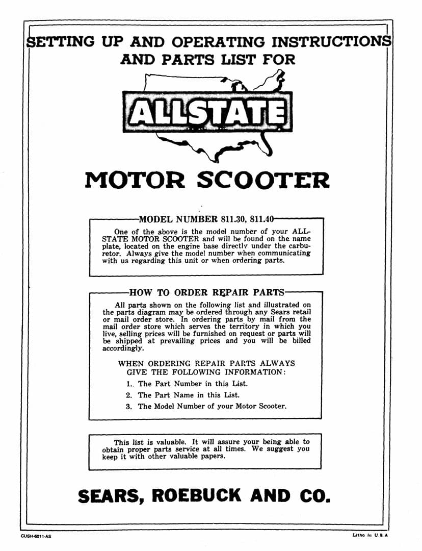 Allstate Cushman Setting Up and Operating Instructions and Parts List Manual