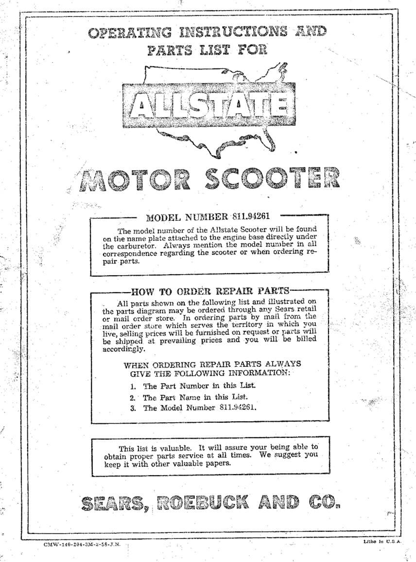 Allstate Cushman Operating Instructions and Parts List
