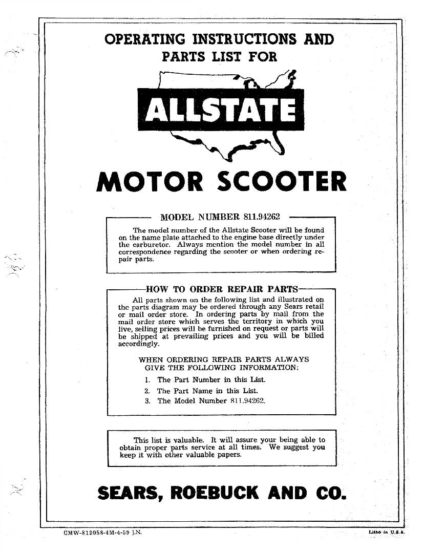 Allstate Cushman Operating Instructions and Parts List Manual