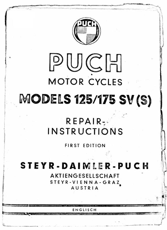 Puch 125 175 SV SVS Motorcycle Repair Instructions First Edition