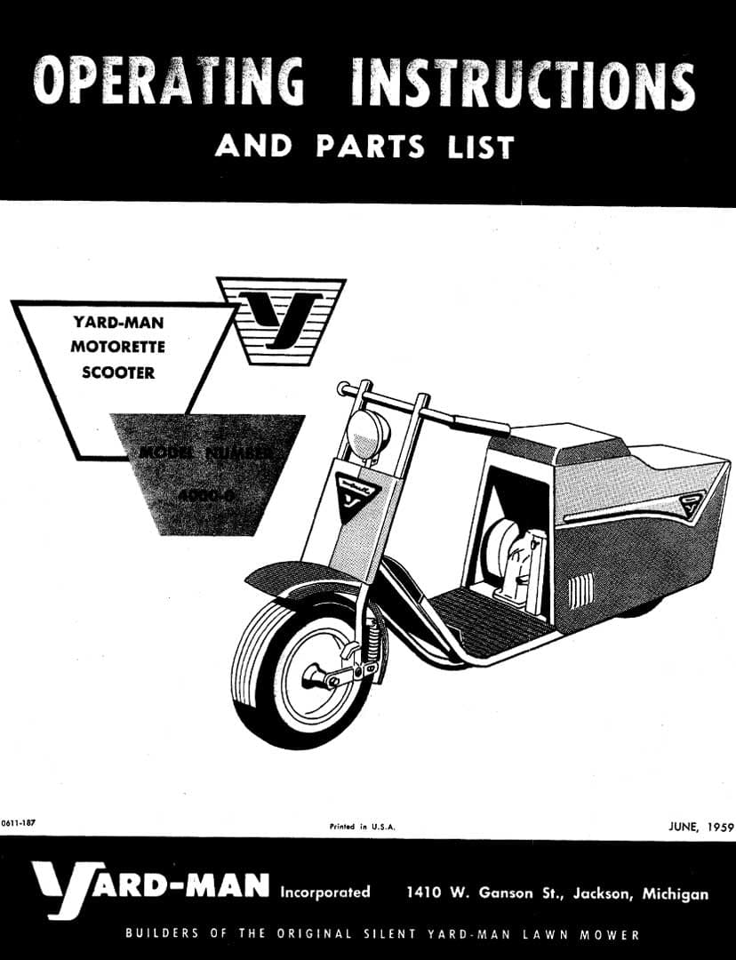 Yard-Man Motorette Operating Instructions and Parts List